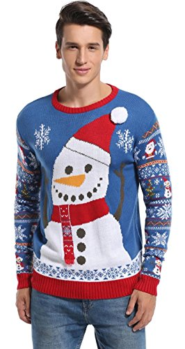 - Daisysboutique Men's Christmas Holiday Snowman Sweater Cute Ugly Pullover (Large, Big Smile)