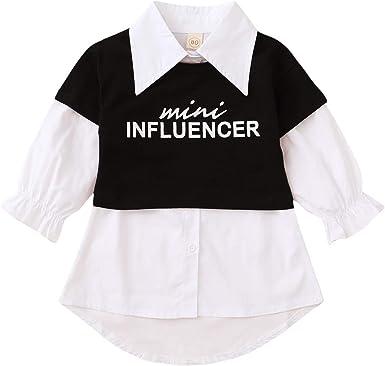 Vestido de camisa para niña, camisa blanca de manga larga con botones + camiseta/camiseta 2 piezas, casual, elegante, moda 1-6 años