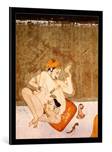 kunst für alle Framed Art Print: AKG Anonymous Lovers Tantra-Art 18th 19th Century - Decorative Fine Art Poster, Picture with Frame, 25.6x31.5 inch / 65x80 cm, Black/Edge Grey