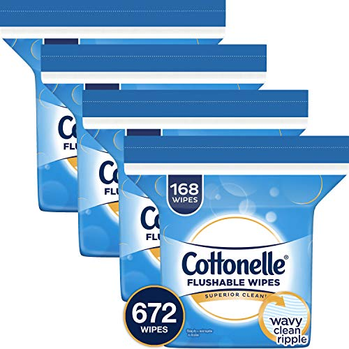 Cottonelle FreshCare Flushable Wipes Refill, 672 Flushable Wet Wipes, Lightly (Lightly Scented Wipes)