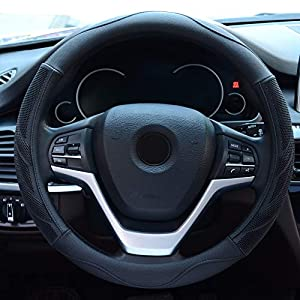 Alusbell Microfiber Leather Steering Wheel Cover Breathable Auto Car Steering Wheel Cover for Men Universal 15 Inches…