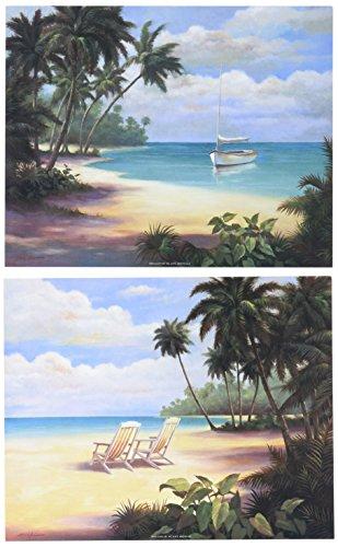 WallsThatSpeak 2 Tropical Palm Tree Art Posters Sandy Beach Prints, Beige/Blue/Green