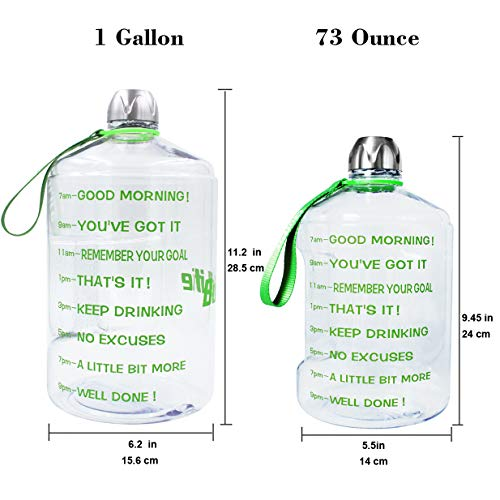 4ac7e28329fa QuiFit 1 Gallon Sports Water Bottle with Motivational Time Marker BPA Free  Leak Proof and Durable 128/73/43 oz Large Capacity to Ensure You Drink ...