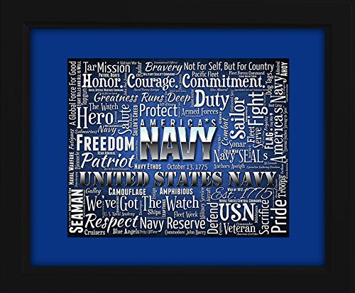U.S. Navy Framed 16x20 Art Piece - Beautifully matted and framed behind glass