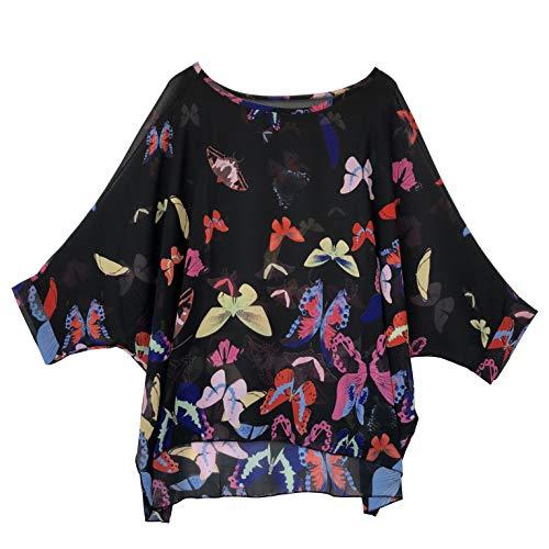 Wiwish Women's Bohemian Style Batwing Sleeve Butterfly Printed Chiffon Caftan Poncho Tunic Top Beach Loose Shirt Black