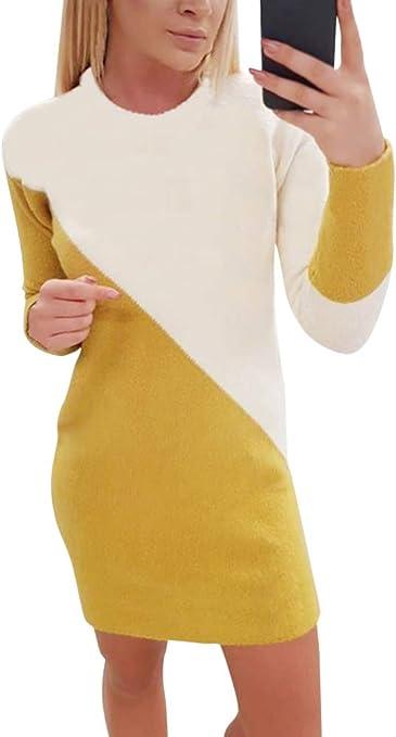 Tomwell Mujeres Vestido Estilo Su/éter Color Block Cuello Redondo Jers/éy Manga Larga Sudor De Punto Elegante Suelto Jumper Pullover Oto/ño Invierno Informal Mini Vestido