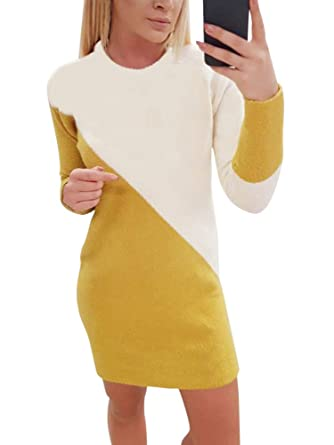 3b959e912 Minetom Robe Pull Femme Manches Longues Épaissir Col Rond Pullover ...
