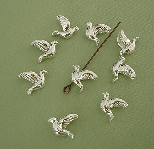 (BeadsTreasure 20 Pcs- Dove Bird Bead Charm Pendant Silver Plated Brass for Jewelry Making.)