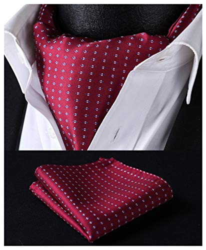 HISDERN Mens Ascot Polka Dot Jacquard Woven Gift Cravat Tie and Pocket Square Set