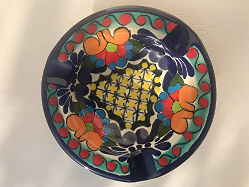 Yellow Signed - Talavera Ceramic Ashtray 4 1/2'' Modern Art Design Authentic Puebla Mexico Pottery Hand Painted Design Vivid Colorful Art Decor Signed [Yellow Center]