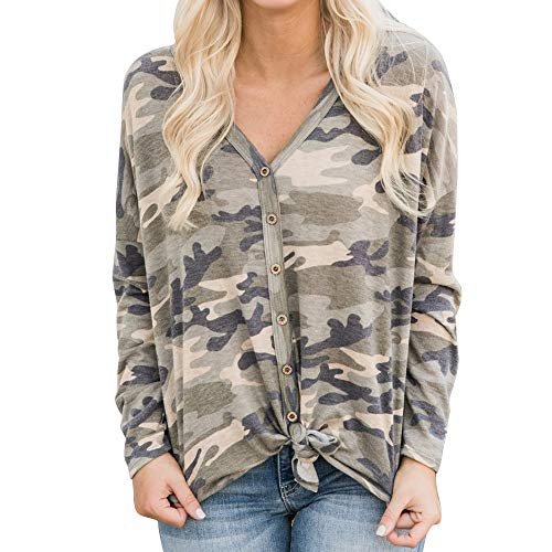- vermers Womens Blouse Womens Loose Knit Tunic Tie Knot Henley Tops Batwing Plain Shirts(L, Z-Camouflage)