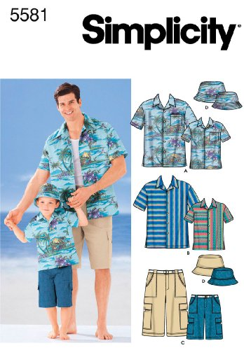 Simplicity Sewing Pattern 5581 Boys and Men Shirts, Shorts and Hat, A (S-M-L/S-M-L-XL) (Sewing Boy Clothes compare prices)