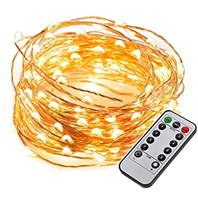 LITOON String Lights, Twinkle Star Outdoor Indoor LED Decorative Lights, Window Curtain String Light for Party,Bedroom,Wedding,Garden 33FT 100 LED with Remote Control (Warm White)