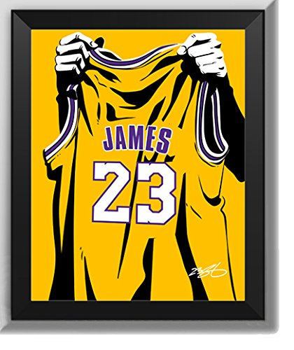 Los Angeles Lakers Lebron James - Camiseta Levantada No. 23 - Decoración De Arte De