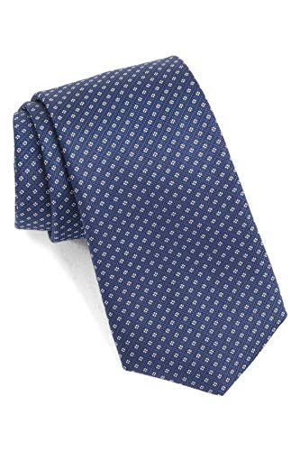 Hugo Boss Geometric Woven Italian Silk Tie, Navy 50397816