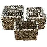 JVL Chunky Home Rectangular Storage Baskets with Loop Handles, Wood, Natural, Set of 3