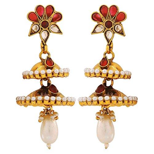 Maayra Kundan Pearls Earrings Maroon White Jhumki Wedding Festival Jewellery by Maayra