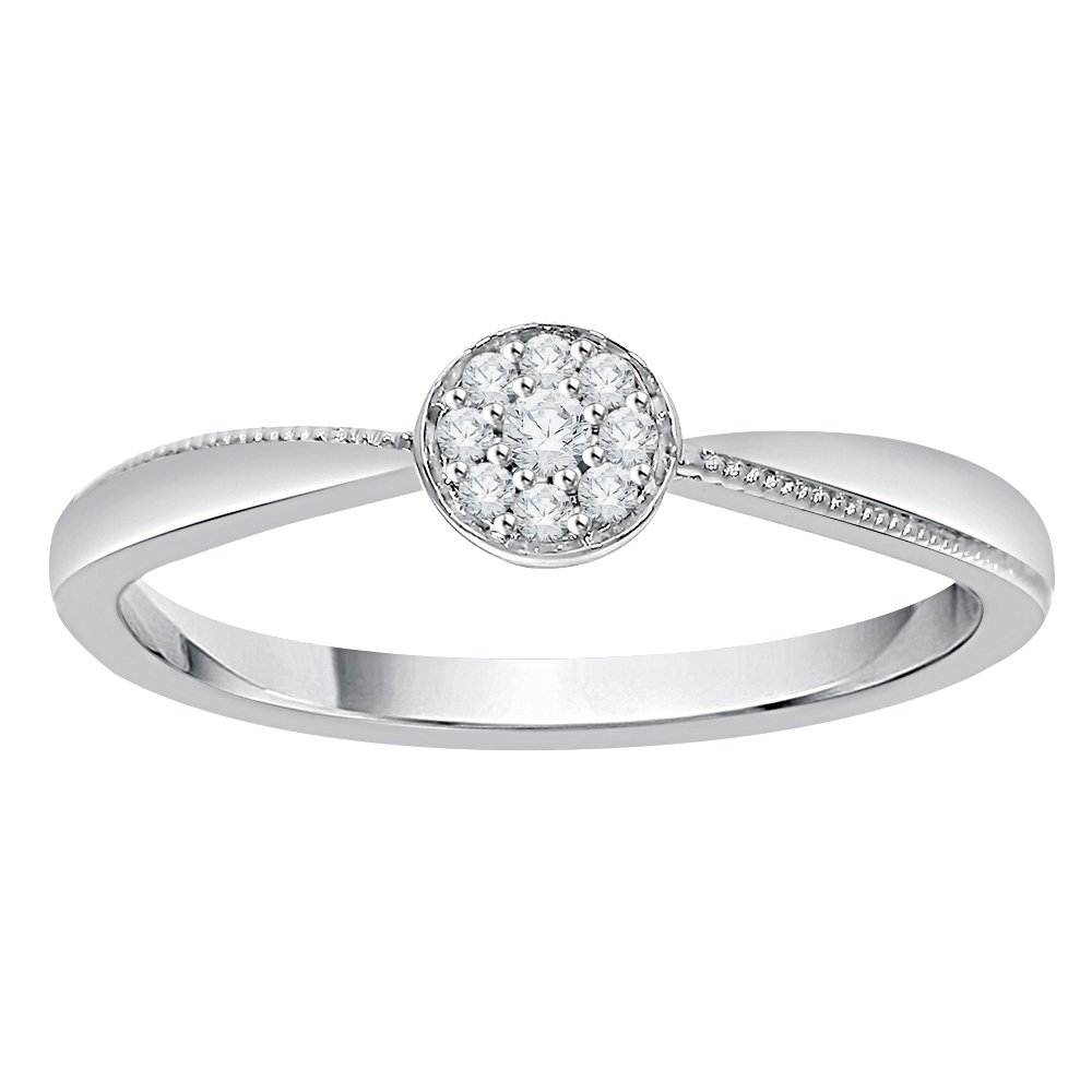 KATARINA Diamond Cluster Engagement Ring in 10K White Gold (1/20 cttw, J-K, SI2-I1) (Size-10)
