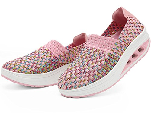 Woven Wedge Walking Trainers Hiking On GFONE Women's Sneakers Loafers Elastic Pink Slip Shoes Platform Casual 0I5wBY