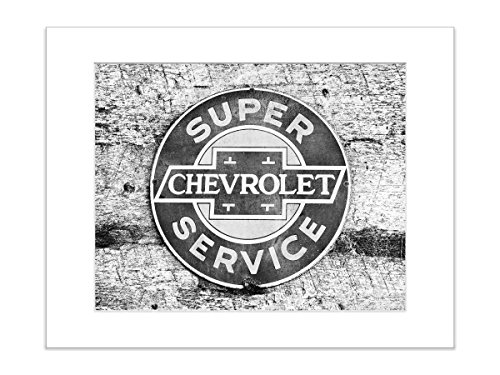 Vintage Black and White Chevrolet Auto Ad Masculine Art 8x10 Matted Photo (Vintage Ad Auto)