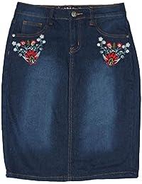 "Embroidered Women's,Below Knee Length Stretch Denim Skirt 23"" L"