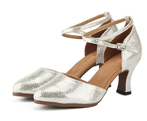 Dance MGM Latin Modern Heel Party Sole Samba Heel Rubber Pumps Shoes Salsa Toe Mid Ankle Leather 7cm Silver Women's Joymod Wedding Rumba Ballroom Closed Prom Wrap Formal Tango rCnTwUraq