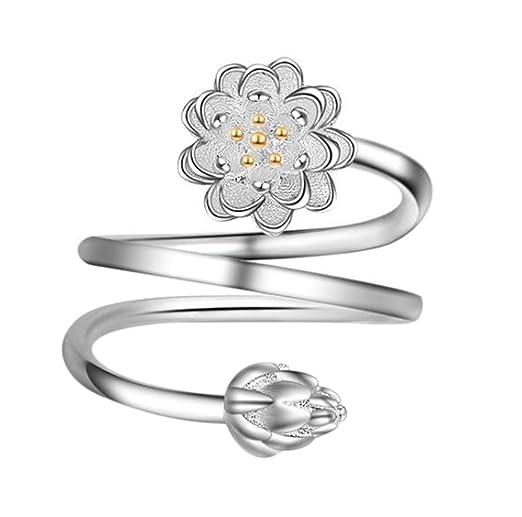 doitsa Anillo de apertura regulable 30/% de plata flores delicadas Mode y El/égant Anillo Arte perfecto regalo Ideal para boda//Festival