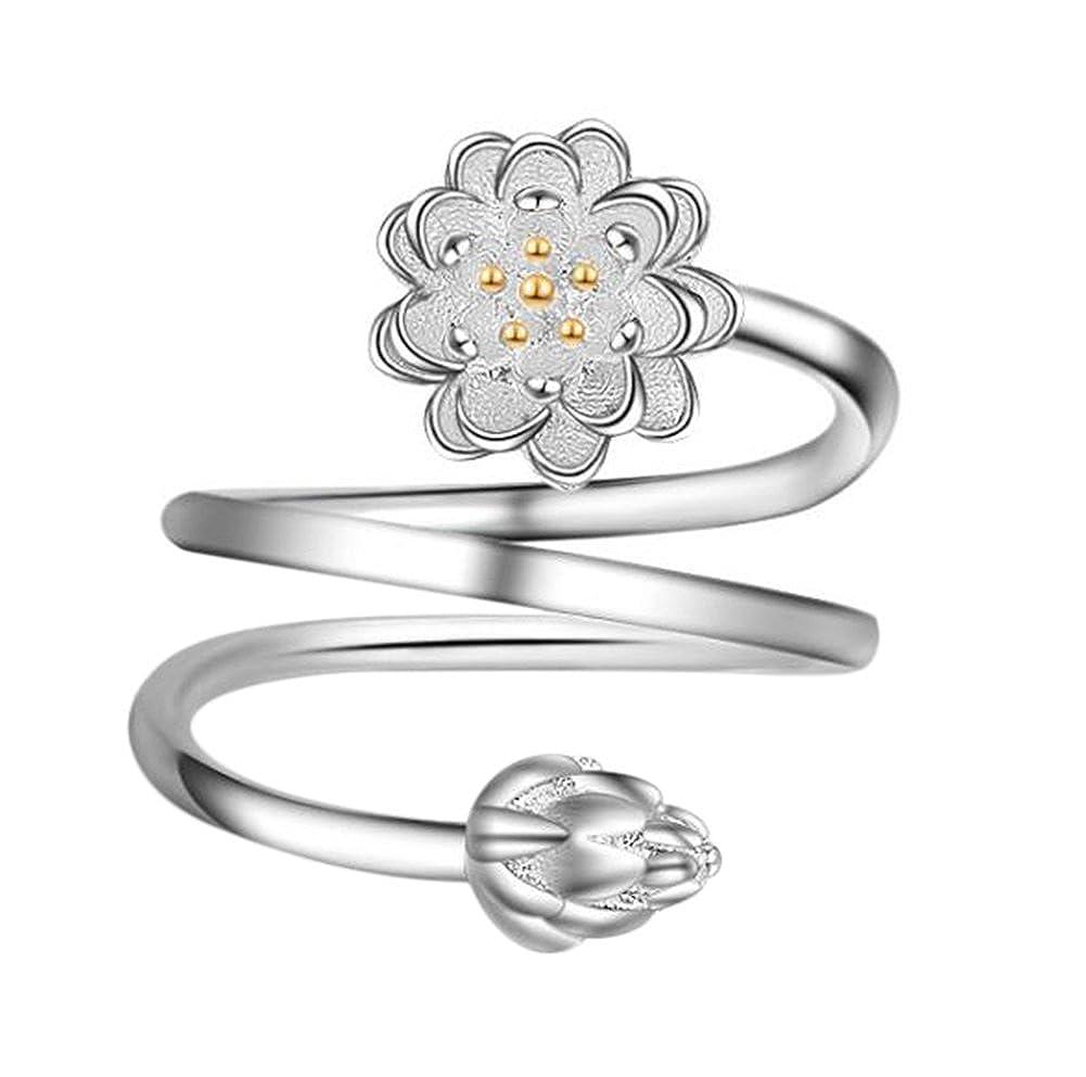 Youkara brillante rotondo elegante spirale fiore anello bend taglia regolabile Open Rings wedding Jewelry for Lady Girls Birthday Gift