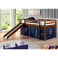Kids Twin Low Loft Bed w/ Slide and Tent - Espresso w/ Blue