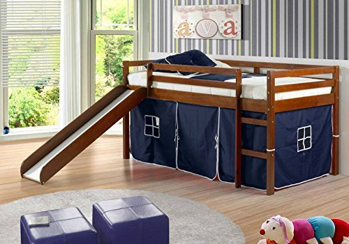 Kid's Twin Low Loft Bed w/ Slide and Tent - Espresso w/ Blue