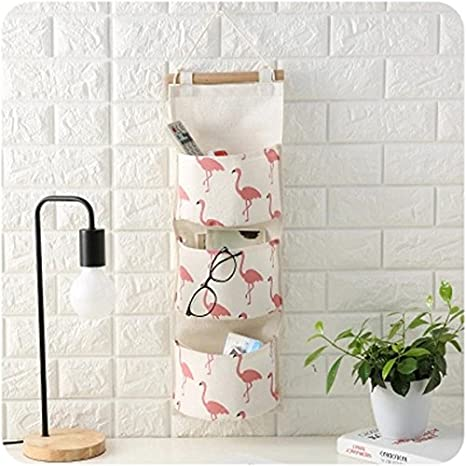 CALISTOUK Three Layers Design Animal Storage Bag Door Wardrobe Hanging Organizer Pink-Flamingo