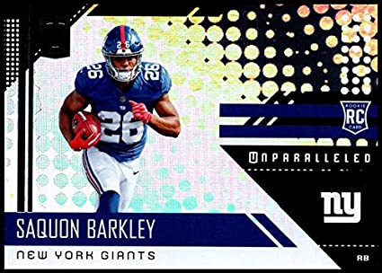 964a2252f Image Unavailable. Image not available for. Color  2018 Unparalleled NFL   213 Saquon Barkley RC Rookie New York Giants ...