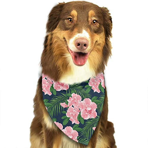 (CWWJQ88 Pink Azaleas Pattern Pet Dog Bandana Triangle Bibs Scarf - Easy to Tie On Your Dogs & Cats Pets Animals - Comfortable and Stylish Pet Accessories)