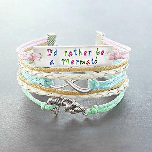 Hand Stamped Quote Infinity Mermaid Bracelet, Adjustable,