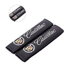 Amooca Carbon Fiber Seat Belt Cover Shoulder Pad Cushion For Cadillac (2 pcs)