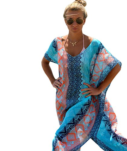 Mansy Women's Chiffon Robe Beach Skirt Swimsuit Cover Up One Size Multicolor