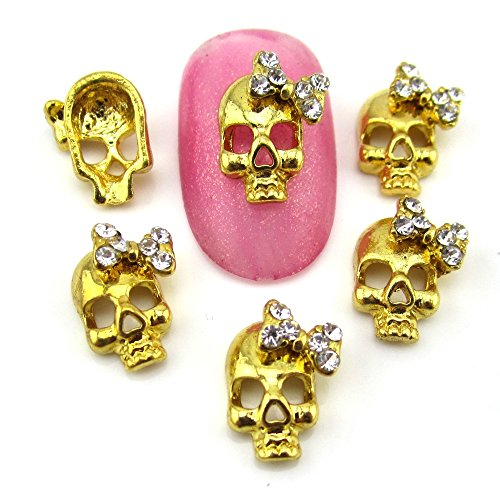 10 Pieces Gold skull nail rhinestones halloween skeleton nail art decoration nails for $<!--$5.60-->