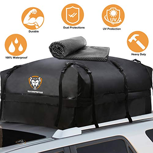 Waterproof Rooftop Cargo Carrier - Heavy Duty Roof Top Luggage Storage Bag with Anti-slip Mat + 10 Reinforced Straps + 6 Door Hooks - Perfect for Car, Truck, SUV, Van With/Without Rack - 19 Cubic Feet (Best Way To Clean Soft Top Roof)