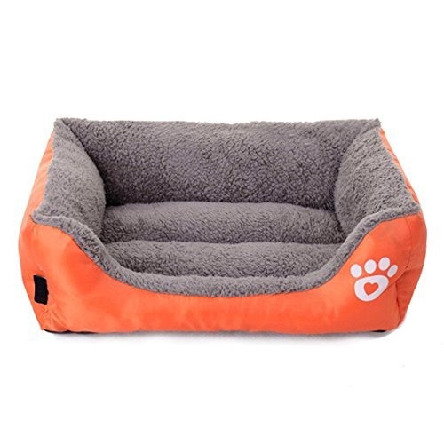 orange Medium orange Medium Echo Paths Comfortable Pet Bed Sleep Cozy Dog Cat Caves Beds for Pets Paw Printed (M, orange)