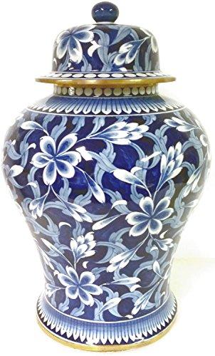 Decors & More Hand Painted Jasmine Ginger Jar (Under Glazed) Brass Ginger Jar