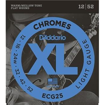 D'Addario ECG25 Chromes Flat Wound Electric Guitar Strings, Light, 12-52