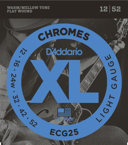D'Addario ECG25 Chromes Flat Wound Electric Guitar Strings, Light, 12-52 (Electric 12 String Guitar Strings)
