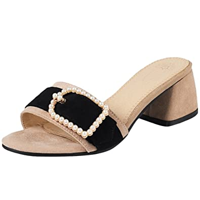 RAZAMAZA Damen Mode Absatz Pantoletten Mules Sandalen Sommer
