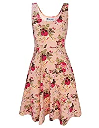 Tom's Ware Womens Casual Fit and Flare Floral Sleeveless Dress TWCWD054-PINK-US M