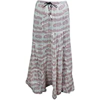 Mogul Interior Womens Long Skirt Pretty Paisley Floral Printed Gypsy Boho Beach Fashion Peasant Skirts