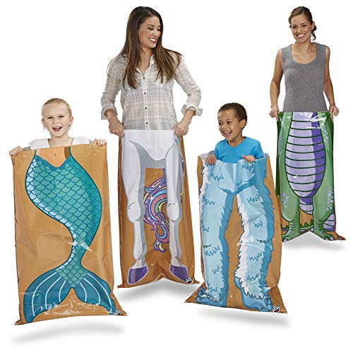 """BigMouth Inc Mythical Creatures Hopsack Race Game - Hilarious Outdoor Yard Game Includes 40"""" x 24"""" Unicorn, Yeti, Dragon, and Mermaid Racing Sacks with Finish Line, Fun Family Game for Parties and Mor"""