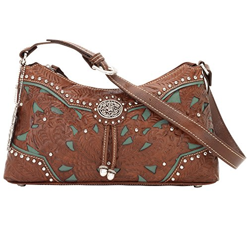 American West Leather Hobo - Zip-Top Shoulder Bag (Lady Lace Brown) by American West