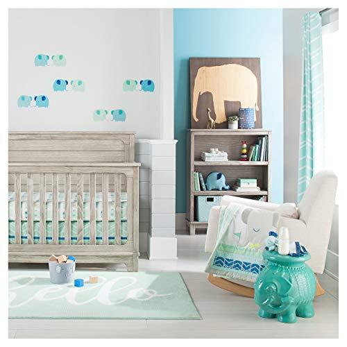 - Cloud Island Oeko-TEX 4pc Blue Elephant Parade Baby Crib Bedding Set, Light Blue/Gray