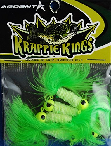 Krappie Kings Crappie/Panfish Marabou Jig Head, Chartreuse, 30 Lures, 1/8 oz