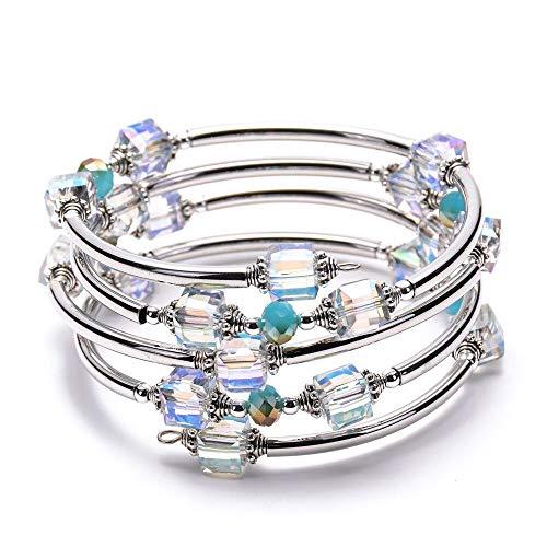 LINGFAN Crystal Wrap Bangle Bracelets for Women Girls, Bohemian Jewelry Multilayer Bracelet Made with Swarovski Crystals